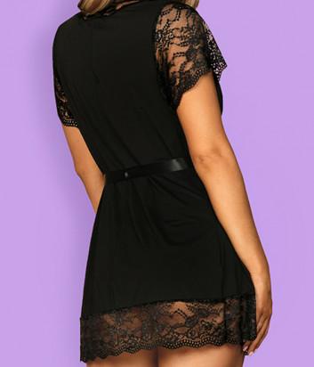 Комплект OBSESSIVE Luvae peignoir черный