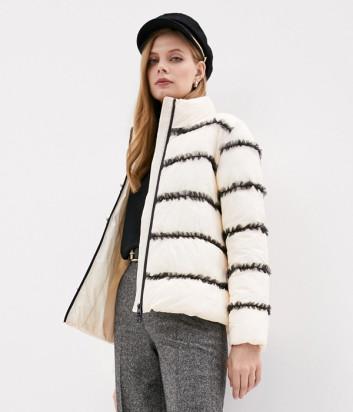 Куртка TWIN-SET 202TP2020 декорированная рюшем белая