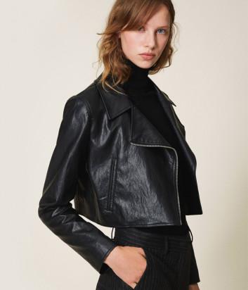 Укороченная куртка-косуха TWIN-SET 202TP230A черная