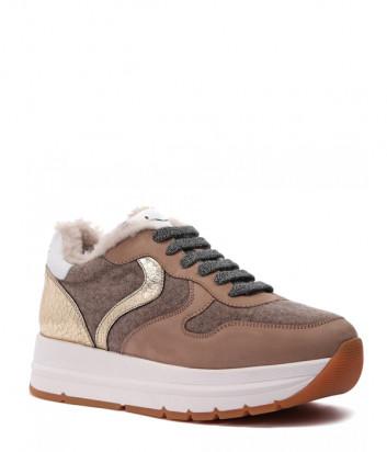 Кожаные кроссовки VOILE BLANCHE Maran Fur 2015235 на меху бежевые