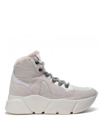 Кожаные кроссовки VOILE BLANCHE Monster High 2501889 на меху серо-белые