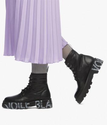 Кожаные ботинки VOILE BLANCHE Tweed 2501840 черные с логотипом на подошве