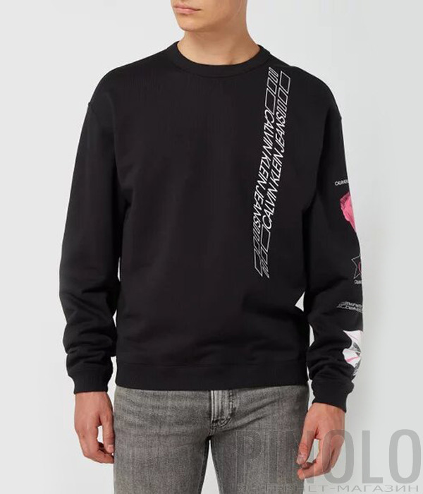 Свитшот CALVIN KLEIN Jeans J30J316874 черный с надписями