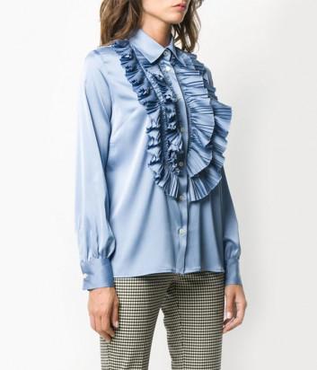 Блуза P.A.R.O.S.H. PALACE D380482 с оборками синяя