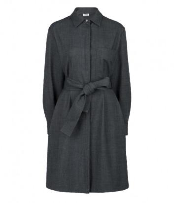 Платье P.A.R.O.S.H. PLANE D723416 с широким поясом серое