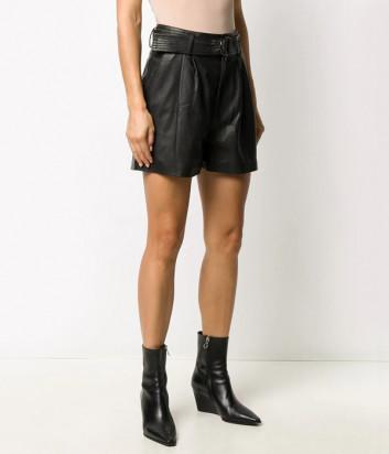 Кожаные шорты P.A.R.O.S.H. MAGNETE D210535 с поясом черные
