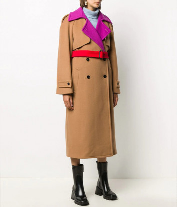 Двубортное пальто MSGM 2941MDC20Y бежевое в стиле колор-блок