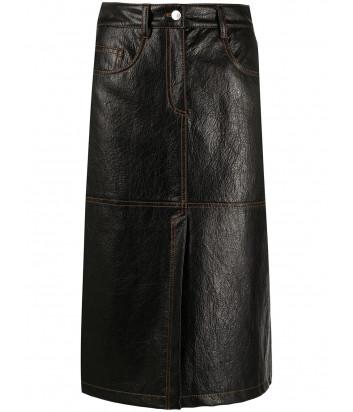 Юбка миди MSGM 2941MDD22 черная с контрастной строчкой