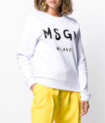 Толстовка MSGM 2941MDM89 белая с логотипом