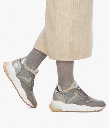 Кожаные кроссовки VOILE BLANCHE Sheel Fur 2015477 на меху серые