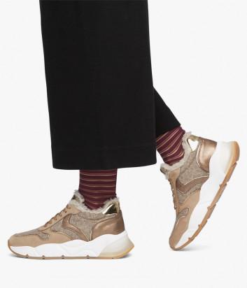 Кожаные кроссовки VOILE BLANCHE Sheel Fur 2015477 на меху бежевые