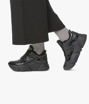 Лаковые кроссовки VOILE BLANCHE Monster Fur 2014293 на меху черные