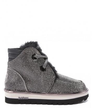 Кожаные ботинки BALDININI 148176 на меху черные с декором