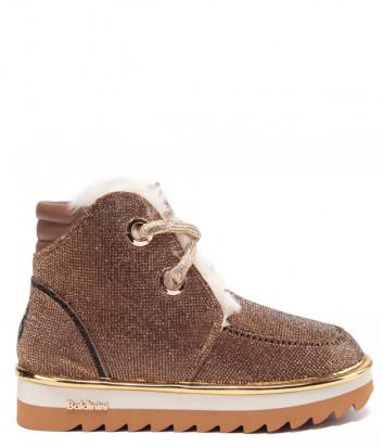 Кожаные ботинки BALDININI 148176 на меху коричневые с декором