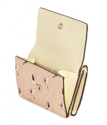 Кожаный кошелек FURLA 1927 S PCW5ACO в три сложения кремовый с принтом