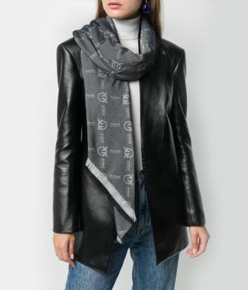 Серый шарф PINKO 1B206U с узором и логотипом