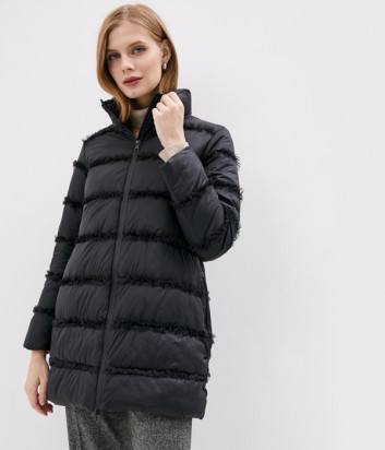 Куртка TWIN-SET 202TP2021 декорированная рюшем черная