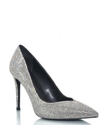 Кожаные туфли-лодочки JEFFREY CAMPBELL Lure черные в кристаллах