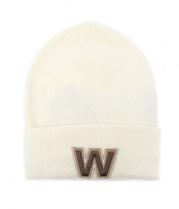 Шерстяная шапка WEEKEND Max Mara BORMIDA WE55761004 кремовая с вышивкой