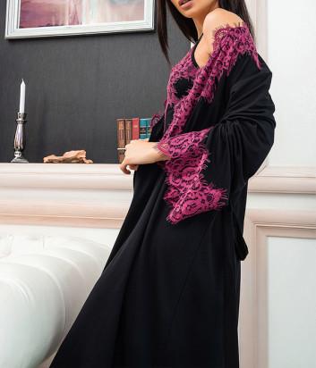 Халат EFFETTO 03136 черный декорирован кружевом