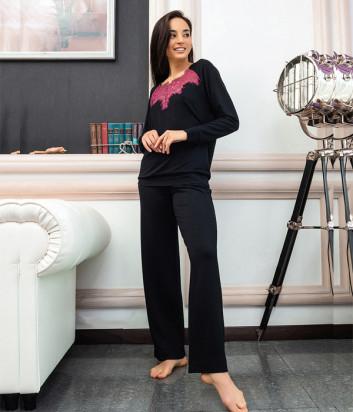 Женский комплект EFFETTO 03137 кофта и брюки черный