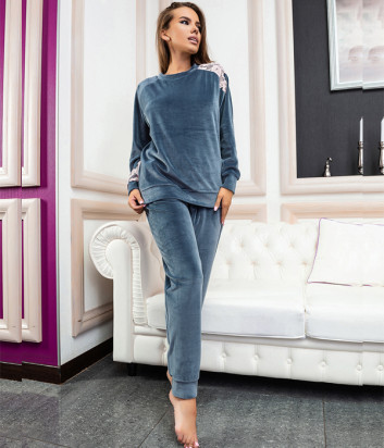 Пижамный комплект EFFETTO 03117 реглан и брюки серый