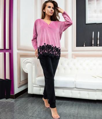 Женский костюм EFFETTO 03112 джемпер и брюки розово-черный
