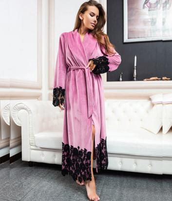 Длинный халат EFFETTO 03111 розовый декорирован кружевом