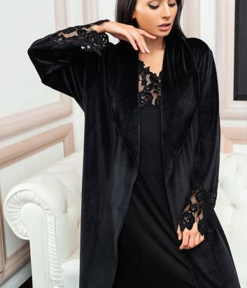 Длинный халат EFFETTO 03111 черный декорирован кружевом