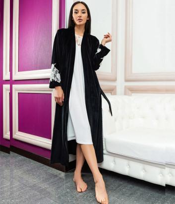 Длинный халат EFFETTO 03128 черный декорирован кружевом