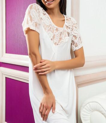 Ночная рубашка EFFETTO 03129 декорирована кружевом молочная