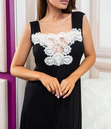 Ночная рубашка EFFETTO 03130 черная декорирована белым кружевом