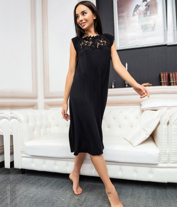 Ночная рубашка EFFETTO 03109 черная декорирована кружевом
