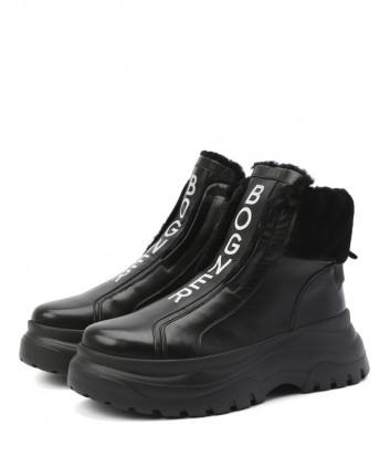 Кожаные ботинки BOGNER 203-K923 на меху черные