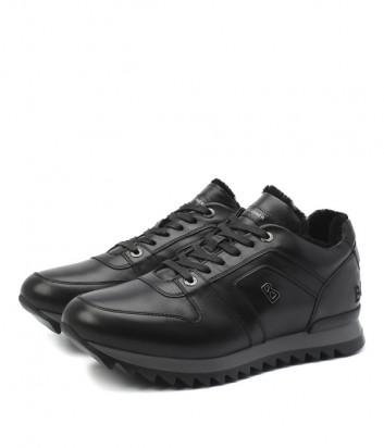 Кожаные кроссовки BOGNER 103-B813 на меху черные