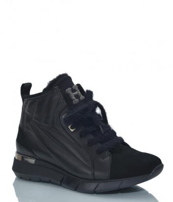 Кожаные кроссовки HELENA SORETTI 3141 на меху с замшевыми вставками черные