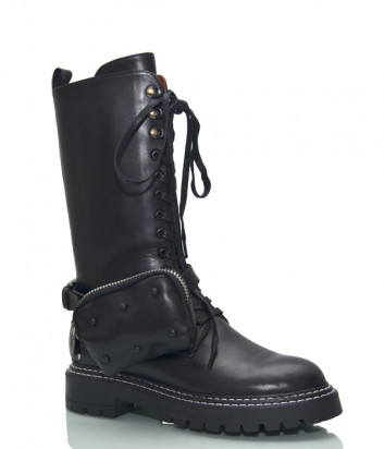 Кожаные грубые ботинки HELENA SORETTI 5264 с аксессуаром-сумочкой