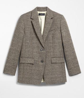 Шерстяной пиджак WEEKEND Max Mara BIAVO WE50460203 коричневый в клетку