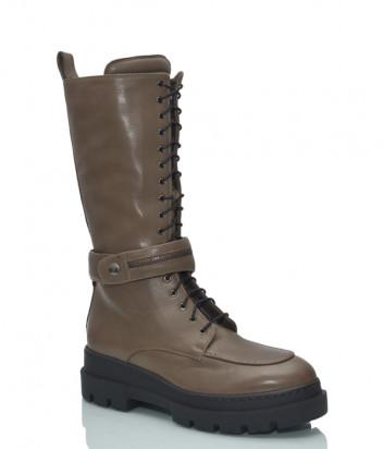 Высокие ботинки ANGELO BERVICATO B4330 на меху цвета хаки