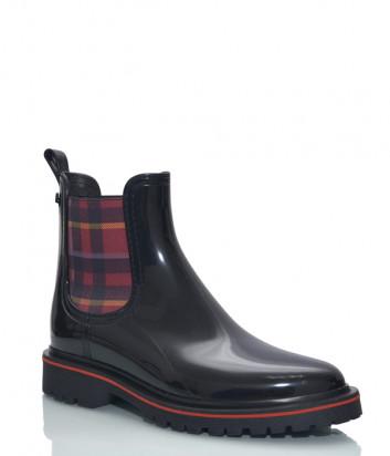 Резиновые ботинки LEMON JELLY DEVANA 06 черные с эластичными вставками в клетку