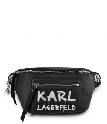 Кожаная сумка-бананка KARL LAGERFELD 206W3073 черная с принтом
