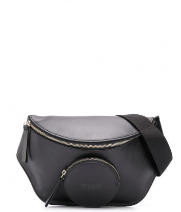 Кожаная поясная сумка MSGM 2940MZ19135 с внешним круглым карманом черная