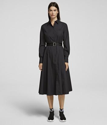 Платье-рубашка KARL LAGERFELD 206W1300 с юбкой А-силуэта черное