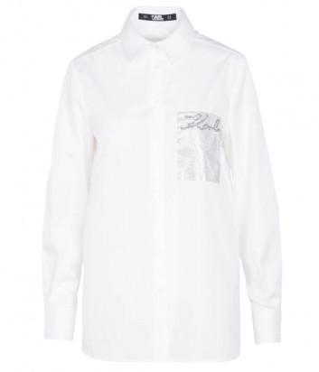Рубашка KARL LAGERFELD 206W1606 белая с декором