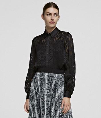 Полупрозрачная блуза KARL LAGERFELD 206W1605 черная с принтом