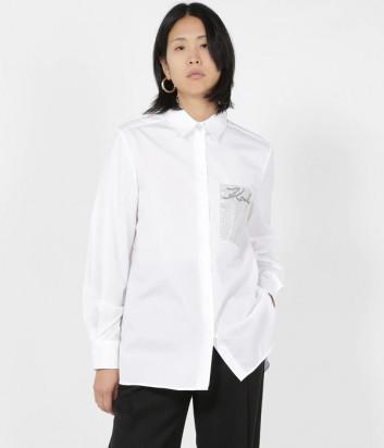 Белая рубашка KARL LAGERFELD 206W1606 с декорированным карманом