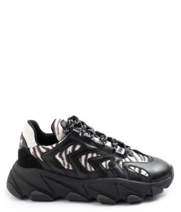 Комбинированные кроссовки ASH Extreme Combo 002 черные и принт зебры
