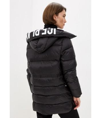 Пуховик ICE PLAY J08164129000 черный с логотипом на капюшоне