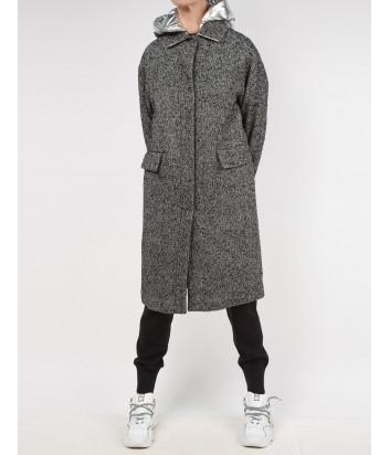 Длинное пальто ICE PLAY N011 6452 серое с серебристым капюшоном