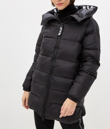 Черный пуховик ICE PLAY J0816412 с логотипом на капюшоне